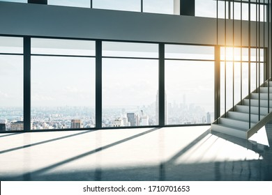 Minimalist light office interior with glass, furniture, city view and stairs. 3D Rendering