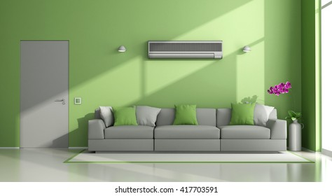 Minimalist living room with air conditioner ,sofa and closed door - 3d rendering