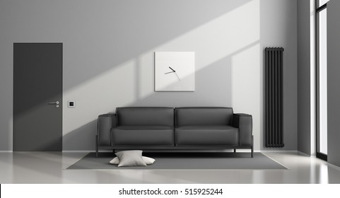 Minimalist living room with black sofa and closed door - 3d rendering