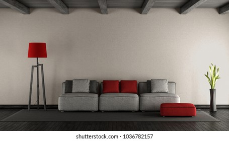 Minimalist living room with colorful sofa on black parquet - 3d rendering