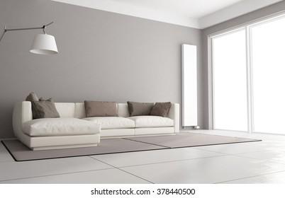 Minimalist living room with elegant sofa, floor lamp and large window - 3D Rendering