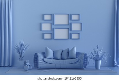 Minimalist living room interior in flat single pastel light blue color with 8 frames on the wall and furnitures and plants, in the room, 3d Rendering, poster gallery wall