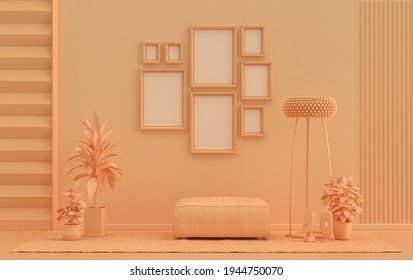 Minimalist living room interior in flat single pastel orange pinkish color with 8 frames on the wall and furnitures and plants, in the room, 3d Rendering, poster gallery wall
