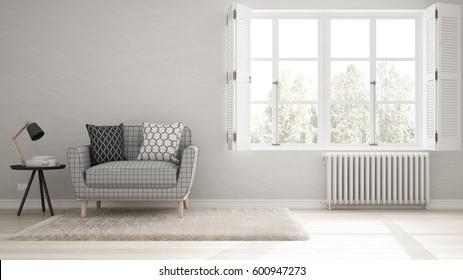 Minimalist living room, simple white living with big window, scandinavian classic interior design, 3d illustration