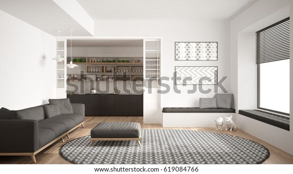 Minimalist Living Room Sofa Big Round Stockillustration ...