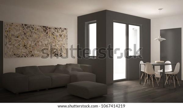 Minimalist Living Room Sofa Dining Table Stockillustration ...
