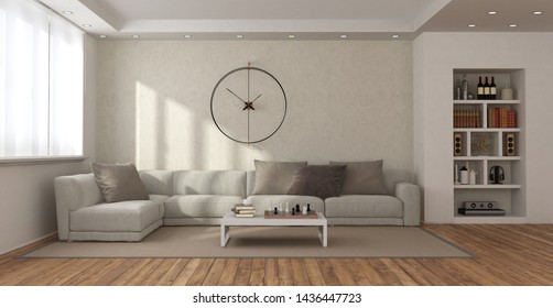 Minimalist living room with sofa,coffee table , bookcase and big clock on wall - 3d rendering