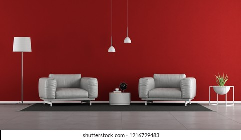 Minimalist living room with two armchairs against red wall - 3d rendering