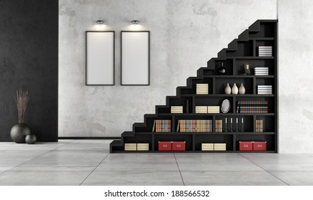 Minimalist Living room with a wooden staircase and bookcase - rendering