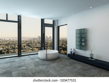 Minimalist luxury bathroom interior with a circular bathtub in the corner on grey travertine tiles and a floor-to-ceiling view window overlooking the city, 3d rendering