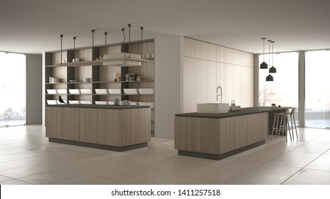Minimalist luxury expensive gray and wooden kitchen, island, sink and gas hob, open space, panoramic window, marble ceramic floor, modern interior design architecture concept idea, 3d illustration