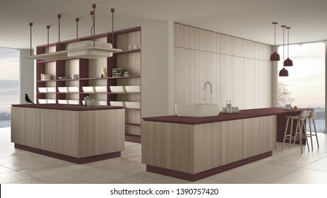 Minimalist luxury expensive red and wooden kitchen, island, sink and gas hob, open space, panoramic window, marble ceramic floor, modern interior design architecture concept idea, 3d illustration
