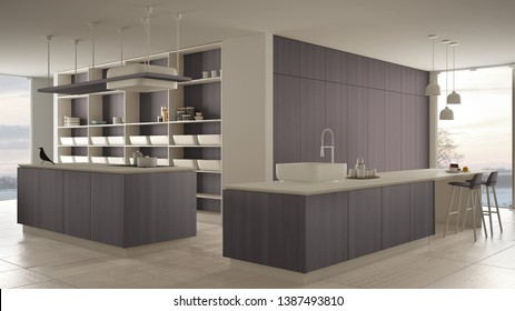 Minimalist luxury expensive white and purple wooden kitchen, island, sink and hob, open space, panoramic window, marble ceramic floor, modern interior design architecture concept idea, 3d illustration