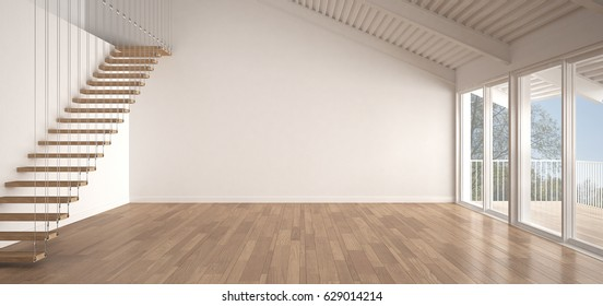 Minimalist mezzanine loft, empty industrial space, metal roofing and parquet floor, scandinavian classic white interior design with garden panorama, 3d illustration
