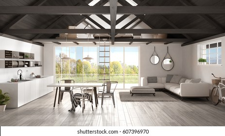 Minimalist mezzanine loft, kitchen, living and bedroom, wooden roofing and parquet floor, scandinavian classic interior design with garden panorama, 3d illustration
