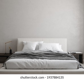 Minimalist modern bedroom interior background, wall mockup, 3d render