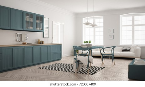 Minimalist modern kitchen with dining table and living room, white and air force blue scandinavian interior design, 3d illustration