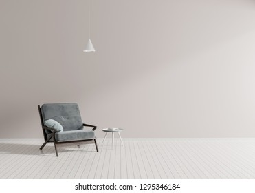 Minimalist modern room with armchair. Scandinavian style interior design. 3D illustration.