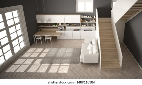 Minimalist modern white, gray and wooden kitchen in contemporary open space with clean staircase, living room with sofa and carpet, interior design architecture concept idea, top view, 3d illustration