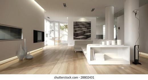Minimalist modern white interior (3D render)