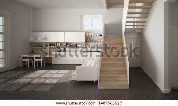 Minimalist Modern White Wooden Kitchen Contemporary Stock Illustration 1489665629,Patch Work Back Side Simple Blouse Back Neck Designs Images