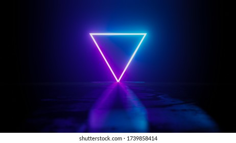 Minimalist Neon Triangle in the Dark - Abstract 3D rendering