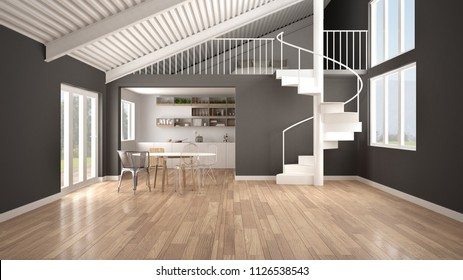 Minimalist open space, white and gray kitchen with mezzanine and modern spiral staircase, loft with bedroom, concept interior design background, architect designer idea, 3d illustration