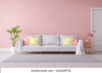 Minimalist Pastel color and modern room interior design,light gray sofa and green plant with pink wall and tile floor ,summer concept,3d render