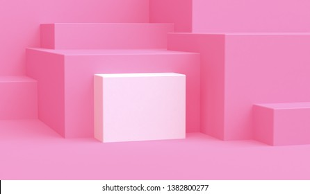 Minimalist pink abstract background, primitive geometrical figures, pastel colors, 3D render.
