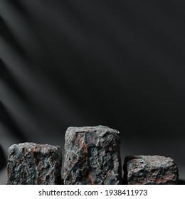 Minimalist rock podium for product showcase background. Geometric shapes. Stone texture. Empty black background mock up stage. 3d render illustration