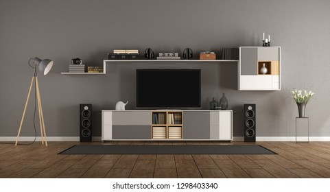 Minimalist room with home cinema system with bookcase - 3d rendering
