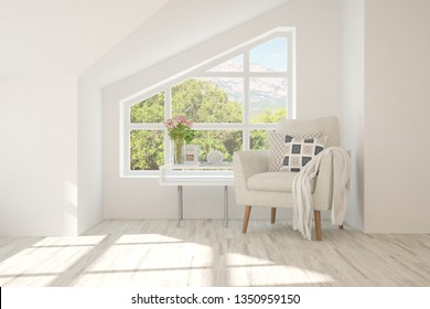 Minimalist room in white color with armchair and summer landscape in window. Scandinavian interior design. 3D illustration