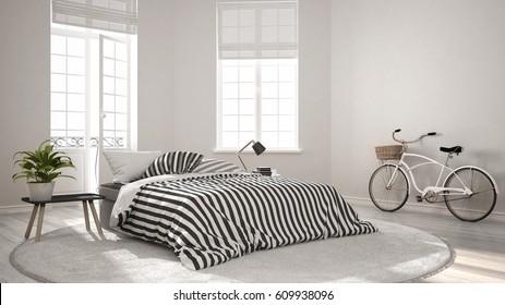 Minimalist scandinavian modern bedroom, classic nordic interior design, 3d illustration