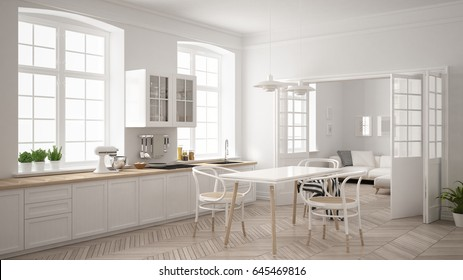 Minimalist scandinavian white kitchen with living room in the background, classic white interior design, 3d illustration