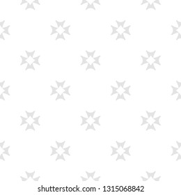 Minimalist seamless pattern with small crosses, simple floral shapes. Abstract geometric texture in light colors, white and gray. Subtle repeat background. Delicate design for decor, print, wallpapers