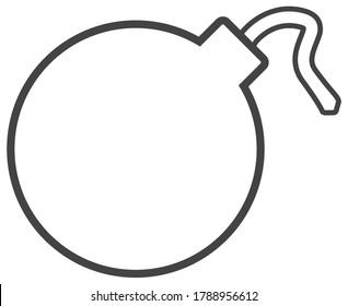 Minimalist simple round cartoon bomb icon symbol with unlit fuse, flat vector illustration