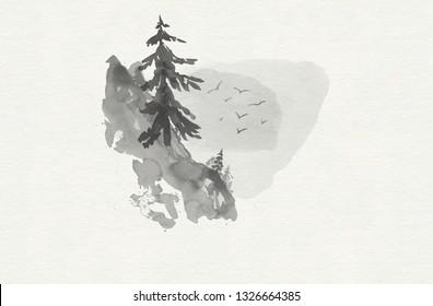 Minimalist watercolor landscape. Watercolor mountains.