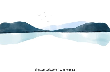Minimalist watercolor landscape with mountains and reflection in the water