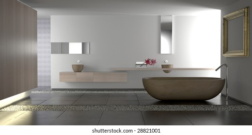 Minimalist white bathroom with stone bathtub and pebbles (3D render)