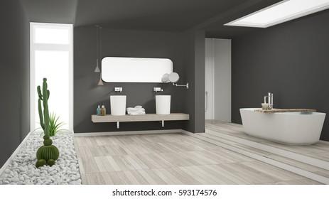 Minimalist white bathroom with succulent garden, wooden floor and pebbles, hotel, spa, modern interior design, 3d illustration