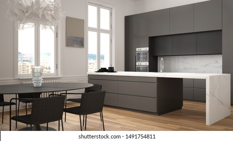 Minimalist white and black kitchen in classic room with moldings, parquet floor, dining table with chairs, marble island and panoramic windows. Modern architecture interior design, 3d illustration
