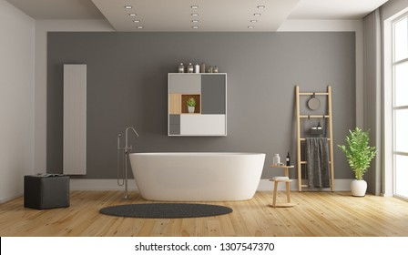 Minimalist white and gray bathroom with bathtub - 3d rendering