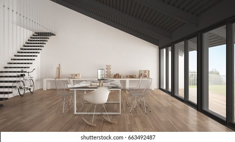 Minimalist white and gray office, architect and planning department, scandinavian interior design, 3d illustration