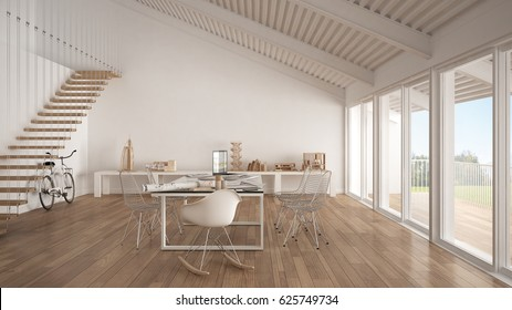 Minimalist white office, architect and planning department, scandinavian interior design, 3d illustration