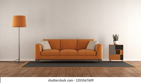 Minimalist white and orange living room with sofa,floor lamp and small sideboard - 3d rendering