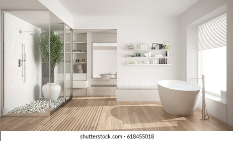 Minimalist white scandinavian bathroom with walk-in closet, classic scandinavian interior design, 3d illustration