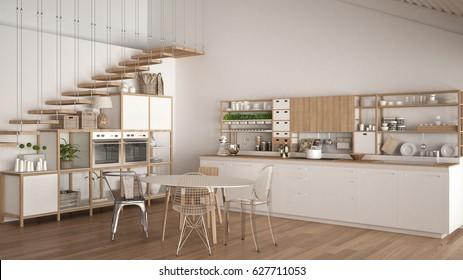 Minimalist white wooden kitchen, loft with stairs, classic scandinavian interior design, 3d illustration