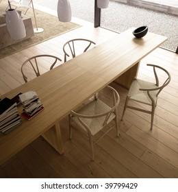 Minimalist wood living room with designer furniture (3D render)