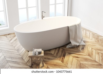 Minimalistic bathroom interior with tall windows, white walls, a wooden floor and a white bathtub. Top view 3d rendering