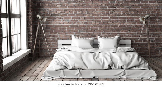 Minimalistic bedroom mock up in loft style with big arched windows and wooden floor and brick walls. 3D rendering.